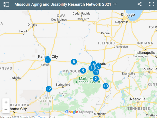 Map of MADRN members across the state of Missouri